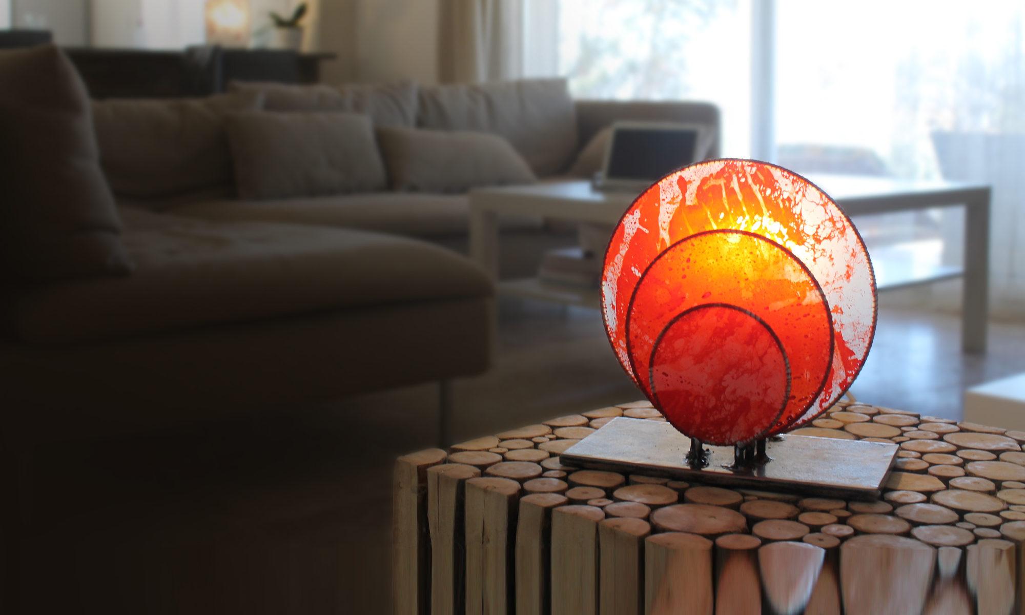 Deco Salon Bleu Roi atelier de création d'objets d'art lumineux, lampes