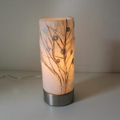 Lampe à poser en verre, arbre en fibre de soie blanche & rouille